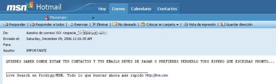extorsión correo hotmail